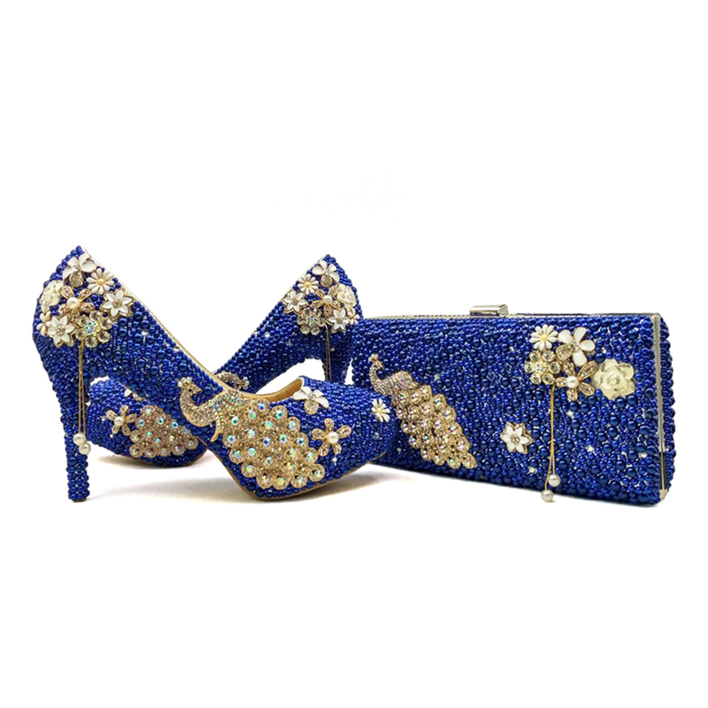 2017 Royal Blue Pearl Bridal Shoes with Matching Bag Gorgeous Design Peacock Style Rhinestone Wedding Party Shoes with Clutch крокус blue pearl geolia