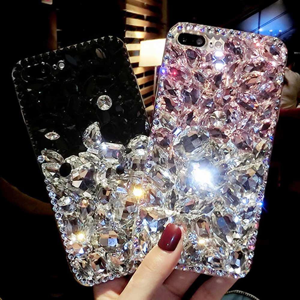 Sunjolly Rhinestone Case for LG Q6 Diamond Bling Phone Cover Hard Back Pink Red coque fundas for LG Q6 Plus X600 X600K cases