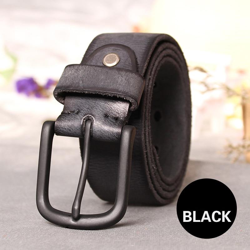 Image 2 - Top Cow genuine leather belts for men jeans Do old rusty black buckle retro vintage mens male cowboy belt ceinture hommeleather belts for mengenuine leather beltleather belt -