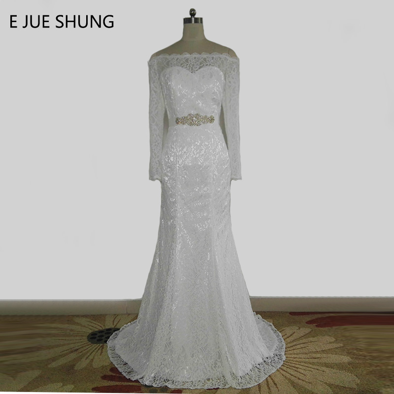 E JUE SHUNG White Lace Off The Shoulder Mermaid Wedding Dresses Sash Long Sleeves Wedding Gowns Vestido De Noiva Robe De Mariee