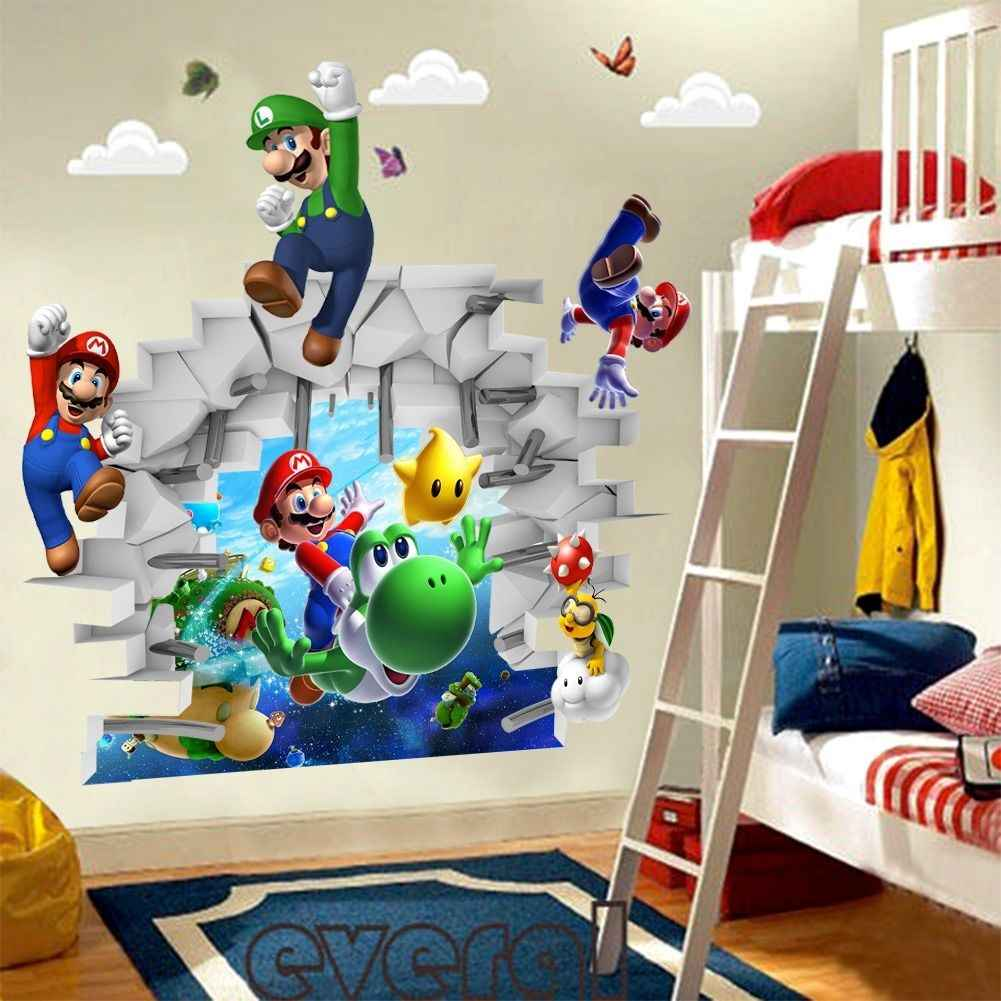 3d Cartoons Super Mario Bros Art Wall Stickers Decals Kids Room Decor Removable Wall Stickers Aliexpress
