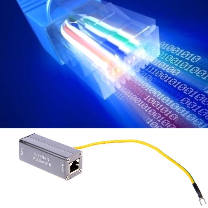 Connectors Lightning Arrester Ethernet Surge Protector RJ-45 Ethernet Cable Join Extension Converter Adapter Coupler Z09 Cable Length: Other