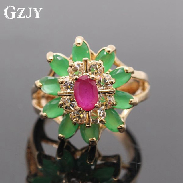 8cd38850f584b GZJY Beautiful Flower Gold Color Red CZ&E AAA Cubic Zirconia Crystal Flower  Ring For Women G11 2-in Rings from Jewelry & Accessories on Aliexpress.com  ...