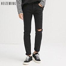 HEIZEMING 2017 Male Jeans Hip hop mens vogue denims Pencil Pants pants Male Top Fashion Stretch Blackest A Pair Of Jean Skinny
