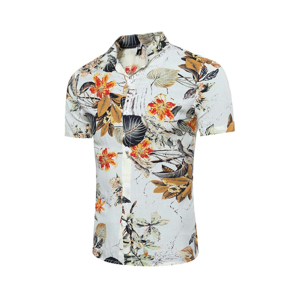Mens shirt with a short sleeve slim us size buttons male shirt floral print brands casual chinese fit social hawaiian shirts