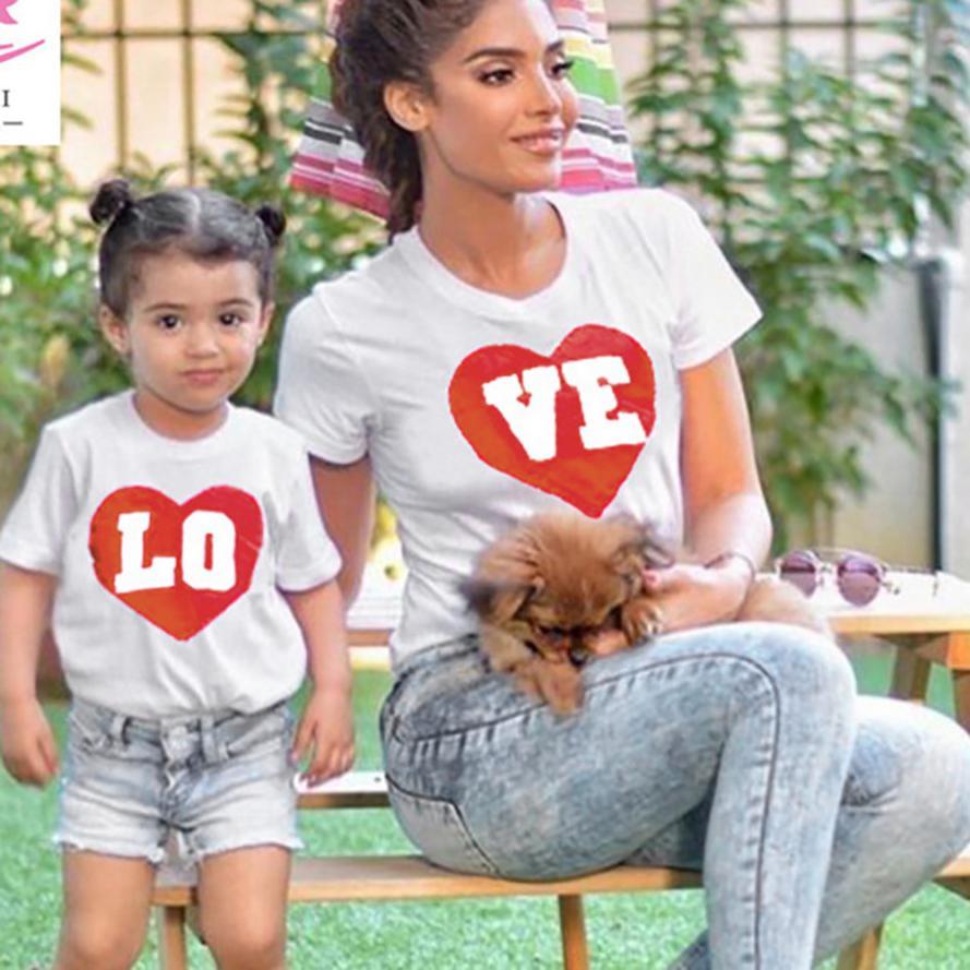 «Мама и я» для маленьких детей Обувь для мальчиков Обувь для девочек короткий рукав Love футболки с надписями блузка семейная одежда 0402