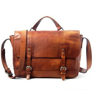 Leather Men's handbag, retro single shoulder bag vegetable tanned leather satchel, personalized leather business men's bag.