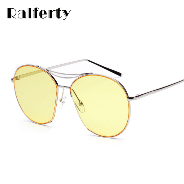 48002b29e3c4 Ralferty Oversized Sunglasses Women Transparent Yellow Eyewear Big Frame  Flat Top Sun Glasses Clear Candy Shades