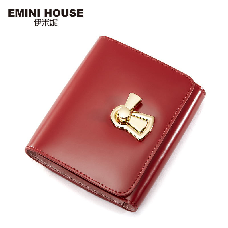 EMINI HOUSE Genuine Leather Women Short Wallet With Lock Hasp Trifold Lady Purse Multifunction Cow Leather Women Coin Purse