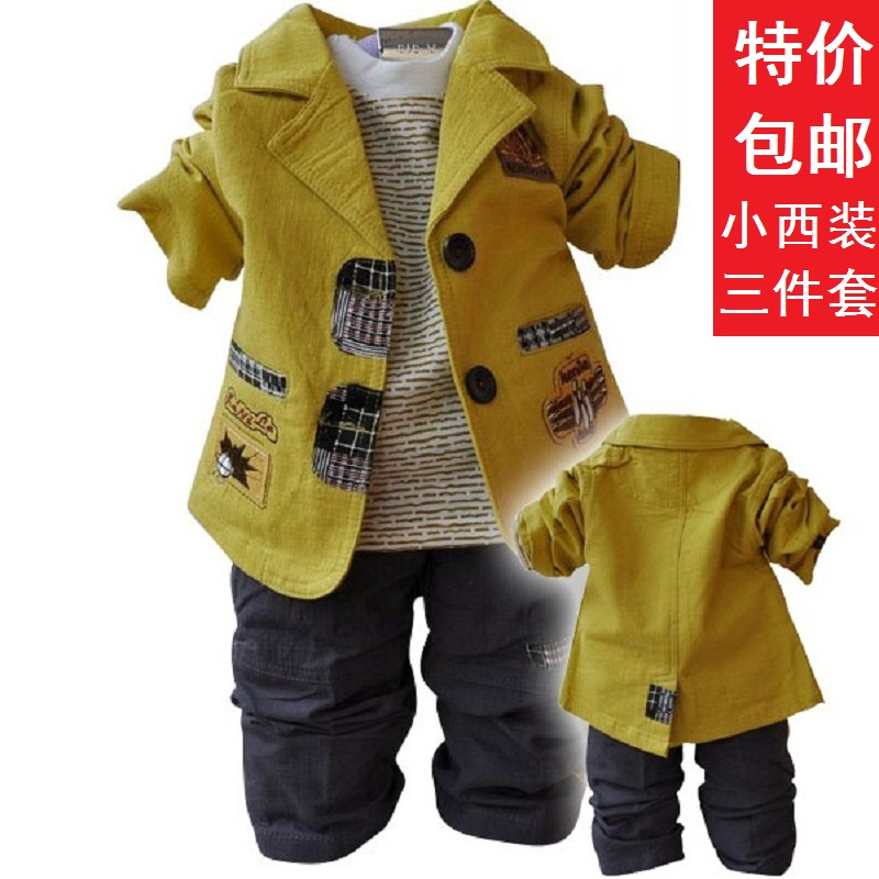 ФОТО 2016 new arrival autumn small male children clothing 100% cotton coat+t-shirt+pants casual blazer suit child set free shiping