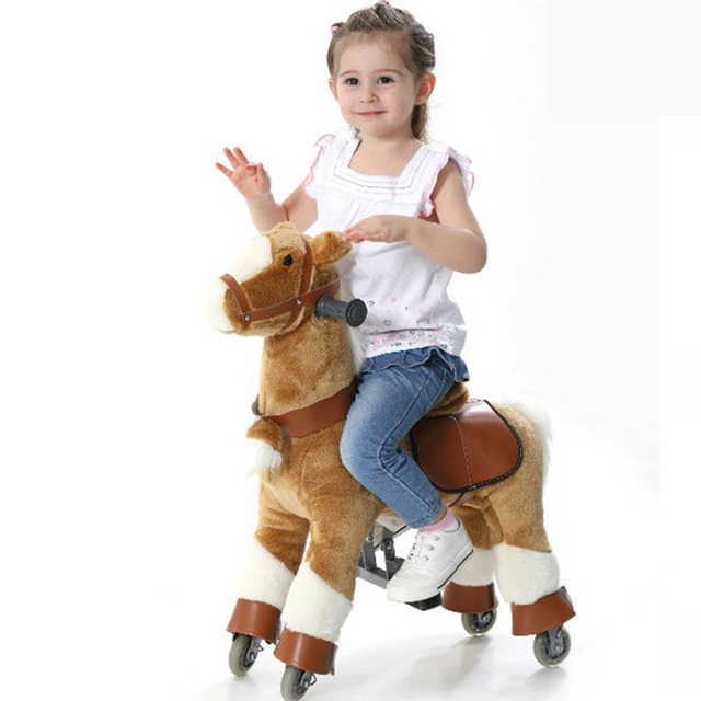 Plush Ride on Me Walking Mechanical Ride on Horse Toy Pony Scooter on Wheels Outdoor Playground Children Christmas Birthday Gift