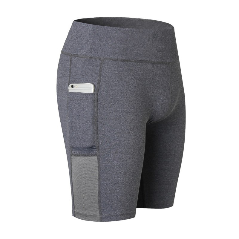 2018 new ladies stretch stretch fitness sweat sweatshirt elastic pocket shorts sports riding shorts