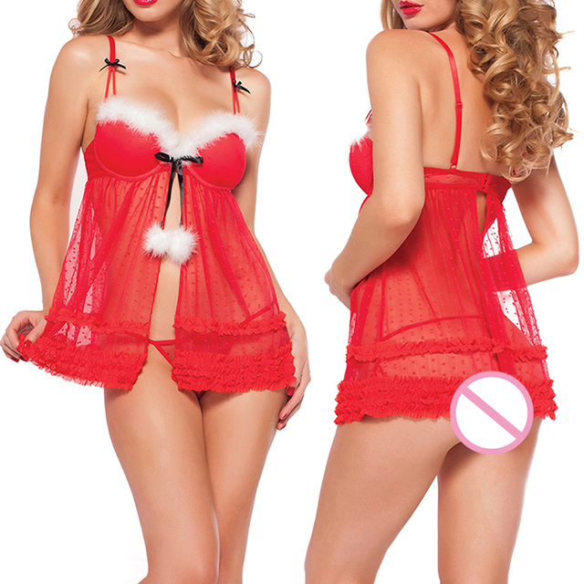 2ddf49ec9d5 Christmas Underwear Women Red Sexy Lingerie Sleepwear Erotic Dress+Thong+Goggles  Lace sling chemise babydoll sexy costumes