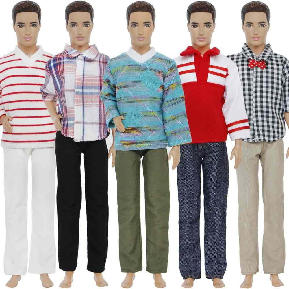 Мода 5 компл./лот Для мужчин наряд ежедневно повседневная одежда смешанные Стиль Одежда для Кена куклы Барби аксессуары кукольный Детские подарки подарок