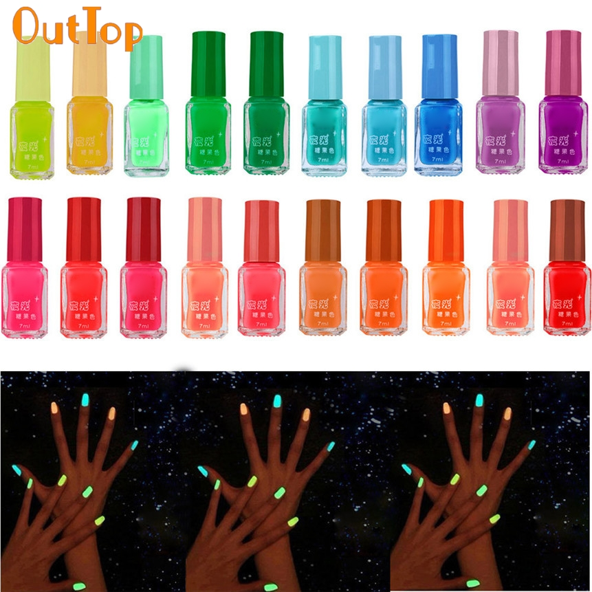 OutTop Nail Polish 20 Color Fluorescent Neon Luminous Gel Nail Art Polish for Glow in Dark Nail Varnish Manicure 61007 Drop Ship