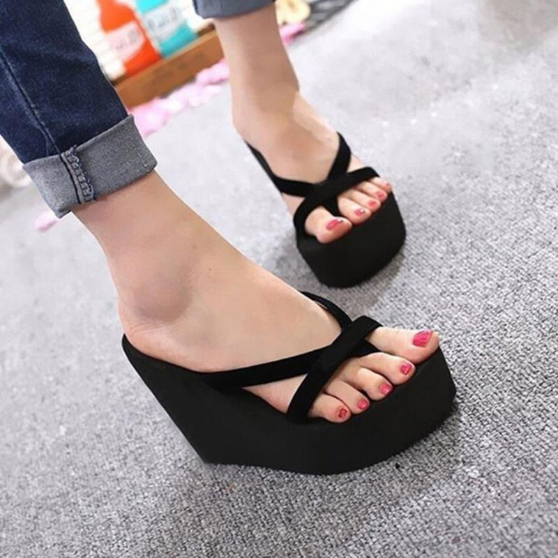 Summer Sweet Women High Heel Flip Flops Slippers Wedge Platform Beach Home Flat Slipper Female Sandals Black/Blue/Rose