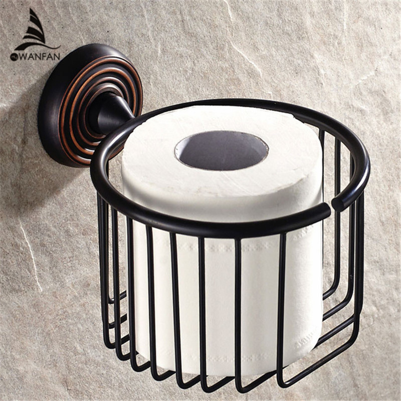 Toilet Paper Holders Black Solid Brass Roll Holder Tissue Holder Wall Mounted Bathroom Accessories Hotel Paper Basket HJ-1217 gold crystal wall mounted toilet paper holders brass wc roll paper tissue basket bathroom accessories