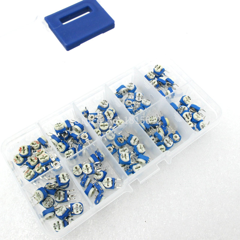 100PCS/LOT RM063 Vertical Adjustable Resistor Kit In Box 500 Ohm-1M Ohm 10 Values *10PCS Multiturn Trimmer Potentiometer Set