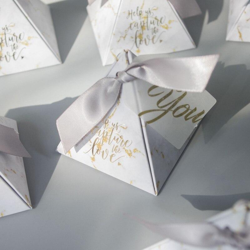 70 pièces boîte-cadeau mignon triangulaire boîte-cadeau pyramide faveurs de mariage et cadeaux boîte à bonbons cadeaux de mariage pour invités décoration de mariage