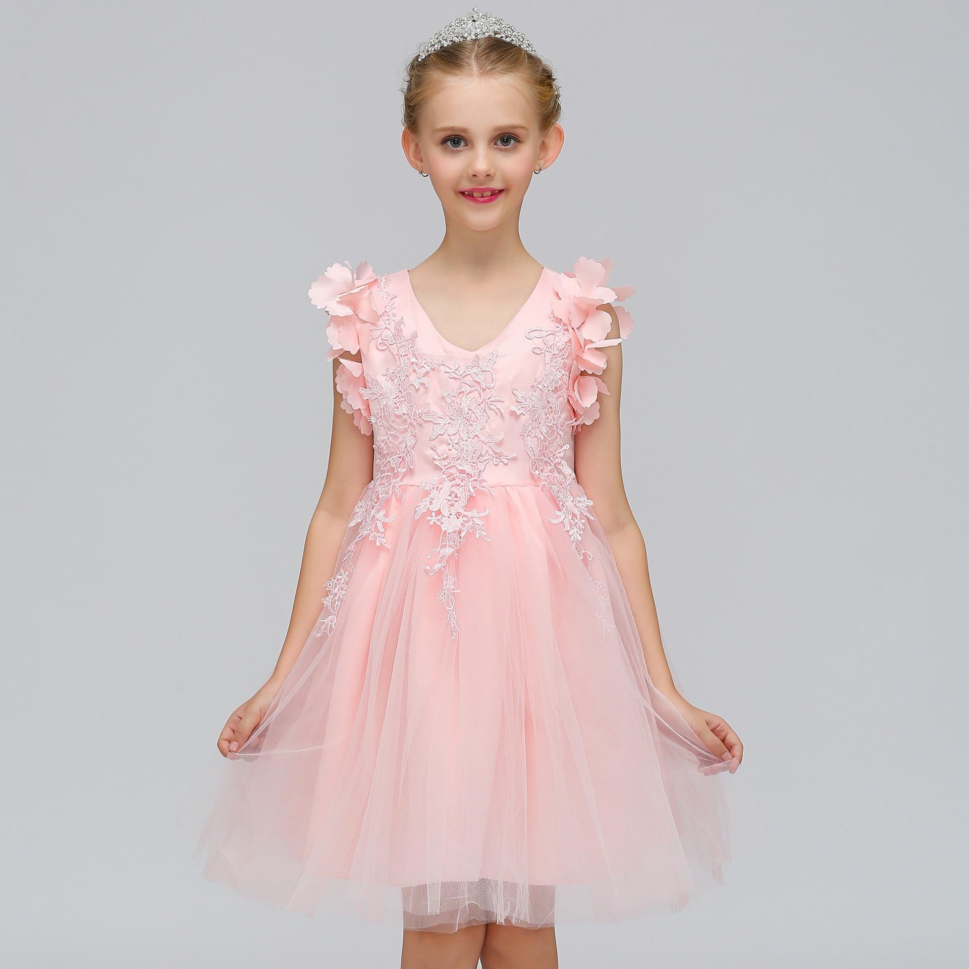 Flower Girls Dress V Collar Kids Princess Dresses European