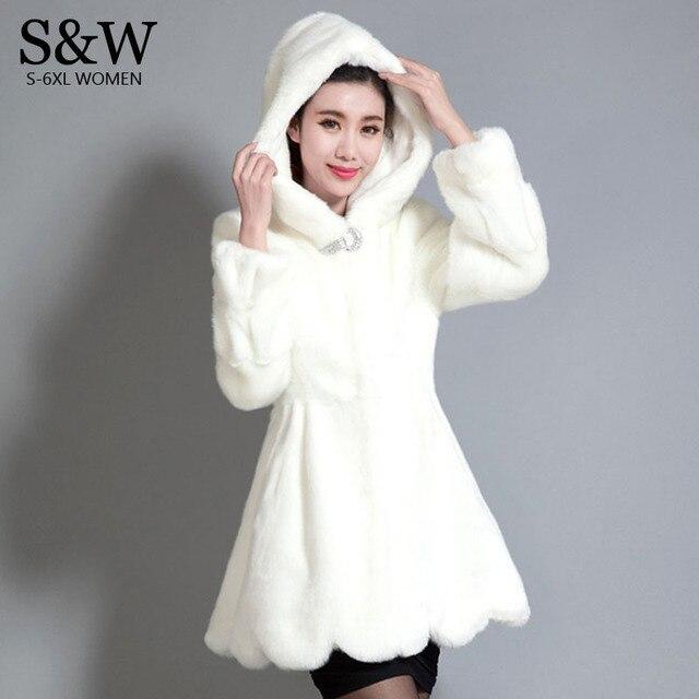 20a5e8744ae Big Size 5XL 6XL Women White Fake Fur Coat Mink Rabbit fur Coat Warm Winter  Hooded