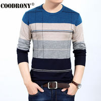 Free Shipping Autumn Winter Warm Sweater Men Knitted Cashmere Wool Pullover Men Fashion Striped O Neck