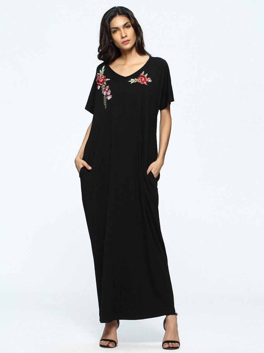 Abaya Dress Muslim Embroidery Women Dress Maxi Jalabiya Islamic Women Loose Clothing Robe Kaftan