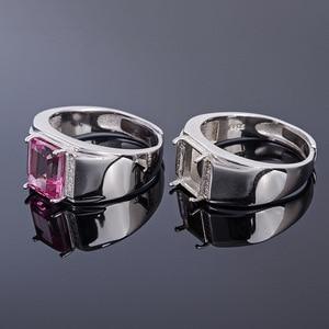 Image 4 - Meibapj 6*8 Real Natural Roze Topaz Edelsteen Mannen Ring Of Lege Ring Ondersteuning Real 925 Sterling Zilver Fijne bruiloft Sieraden