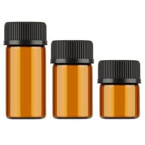 Image 2 - Aihogard 10 pz/lotto 1 ml/2 ml/3 ml Mini Ambra di Olio Essenziale di Vetro Reagenti Riutilizzabile Bottiglia Campione marrone Fiale di Vetro Con Tappo