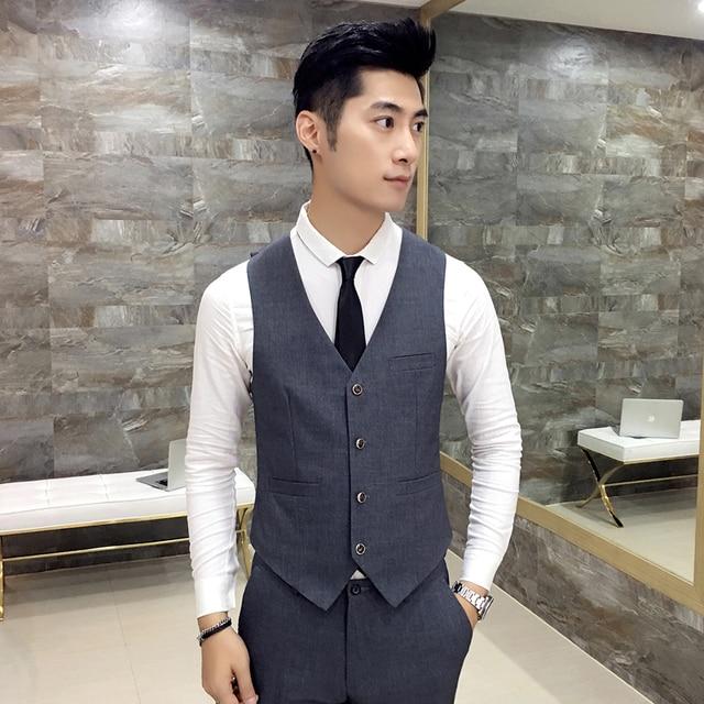 Простой отдыха диких мужской костюм жилет однобортный 2017 новый бизнес джентльмен элегантный Британский стиль V-образным Вырезом жилет Серый черные Мужчины