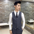 Simple leisure wild men's suit vest single-breasted 2017 new business gentleman elegant British style V-neck vest Gray Black Men