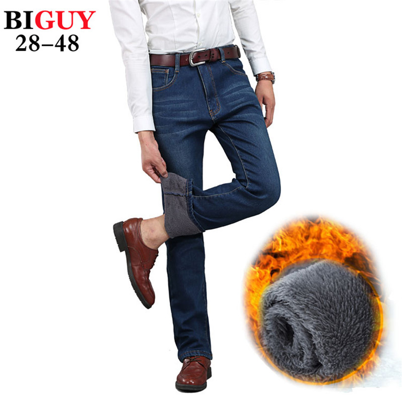 big guy store plus size 42 44 46 48 warm men winter jeans. Black Bedroom Furniture Sets. Home Design Ideas