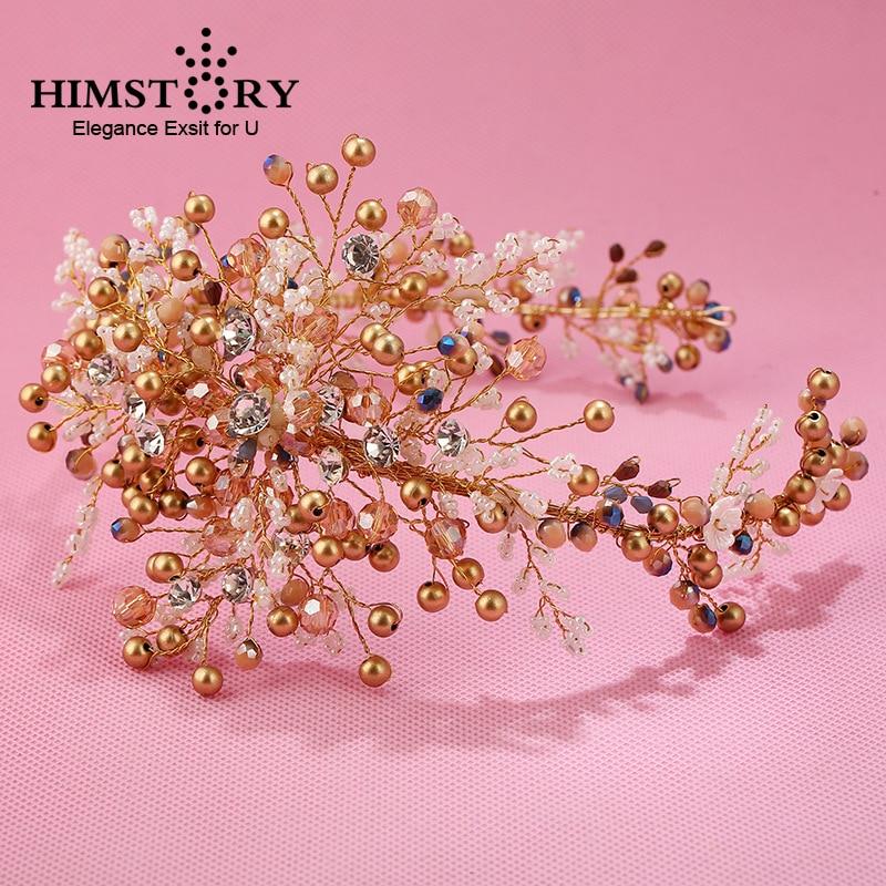 HIMSTORY luxury Handmade Gold Pearl Bridal Headpiece wedding Hair accessories Headbands Soft Tiara For Bride