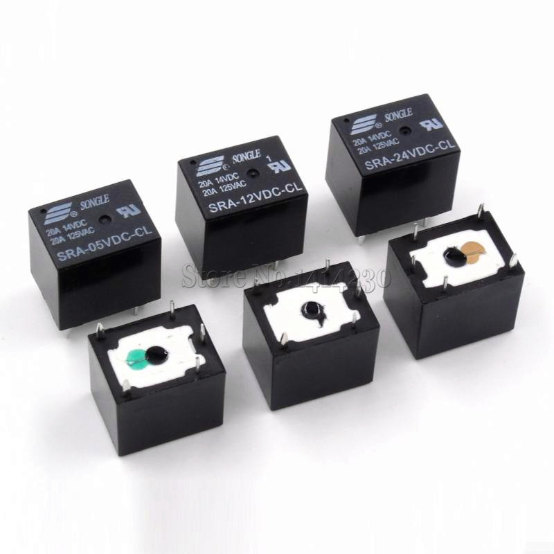 5Pcs 5V 12V 24V 20A DC Power Relay SRA-05VDC-CL SRA-12VDC-CL SRA-24VDC-CL 5Pin PCB Type In stock Black Automobile relay relays srd 12vdc sl c pcb type 12v dc songle power relay