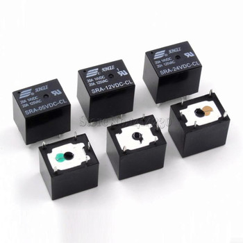 цена на 5Pcs 5V 12V 24V 20A DC Power Relay SRA-05VDC-CL SRA-12VDC-CL SRA-24VDC-CL 5Pin PCB Type In stock Black Automobile relay