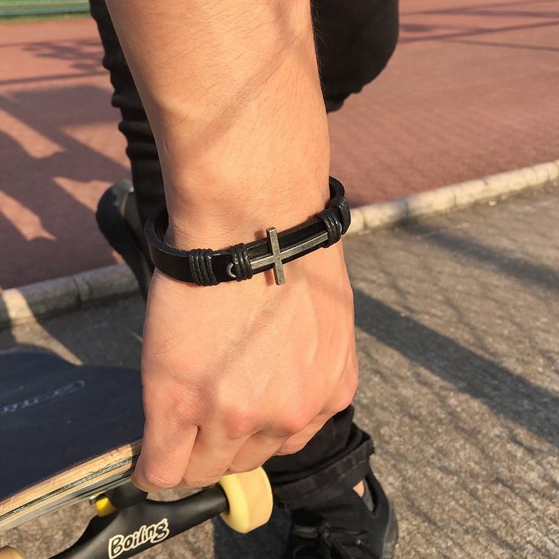 Men's Stainless Steel Cross Leather Bracelet