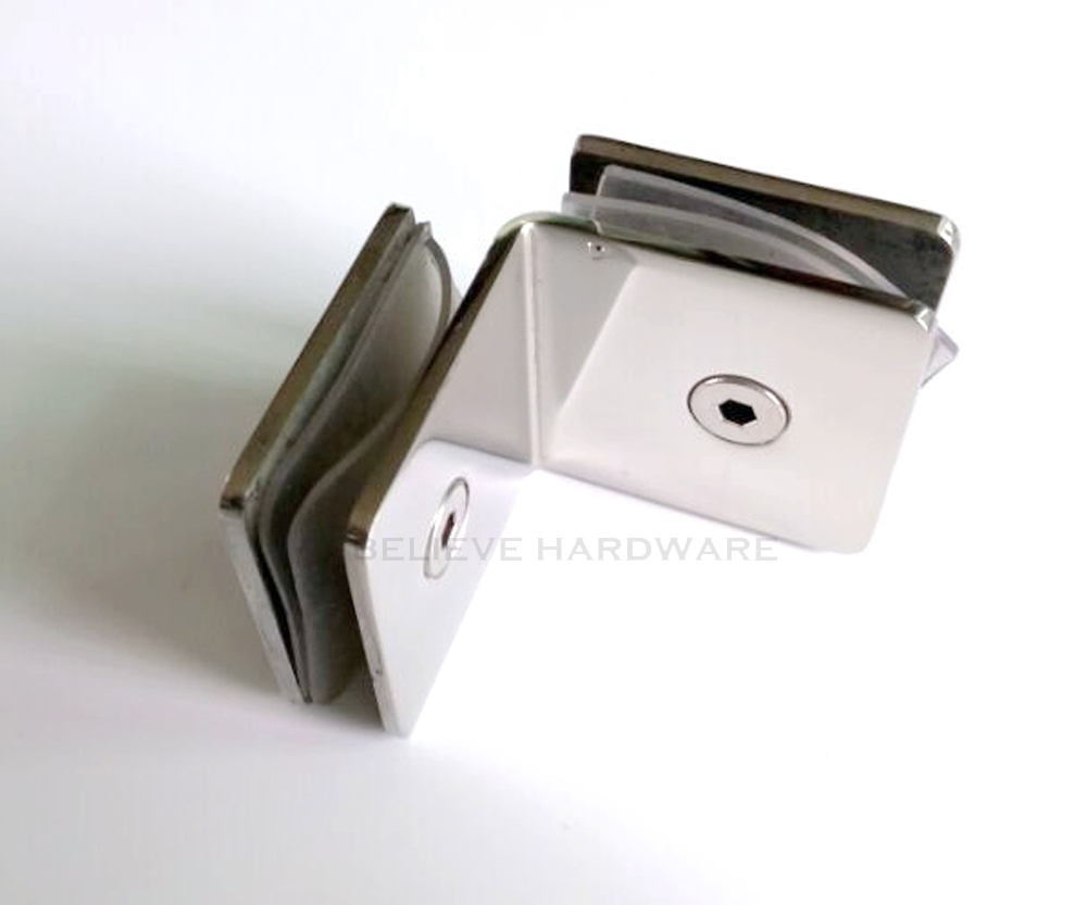 90 Degree Corner Clamp Made With 304 Stainless Steel For Double Side Glass to Glass Fixed DC-1143-45 bathroom clip glass fitted clip 304 stainless steel glass clamp partition code 90 degree wall to glass fixed hm163