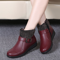 Women Winter Boots Female Zip Ankle Boots Waterproof Warm Snow Boots Ladies Leather Shoes Woman Fur