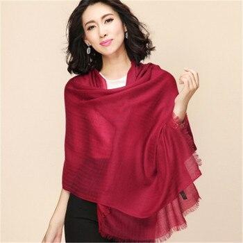Супер большой размер 100% козья шерсть кашемир женские модные тонкие шарфы шаль пашмины 95x220 см желтый 4 вида цветов