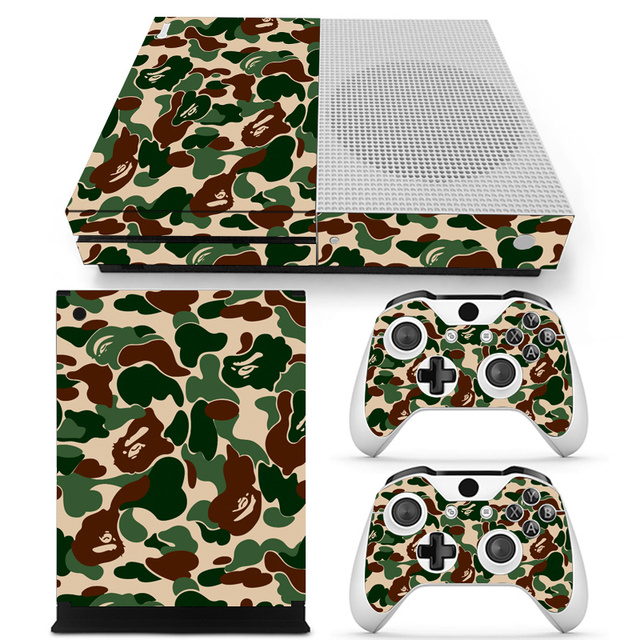 Camouflage Vinyl Skin Sticker Protector for Microsoft Xbox One SLIM and 2 controller skins Stickers for XBOXONE S