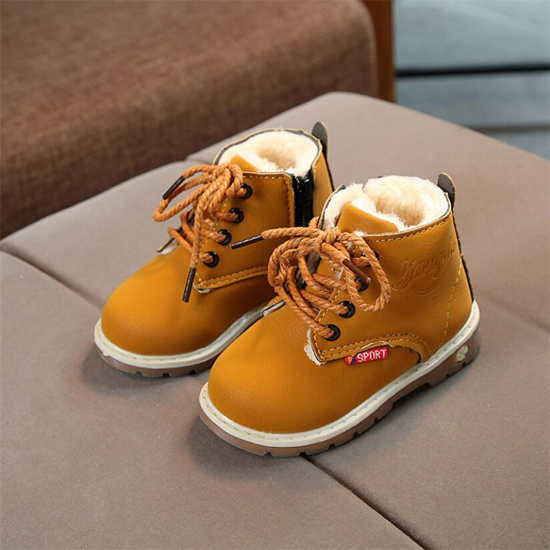 2018 New Winter Children Shoes PU Leather Waterproof Martin Boots Kids Snow Boots Brand Girls Boys Rubber Boots Fashion Sneakers стоимость