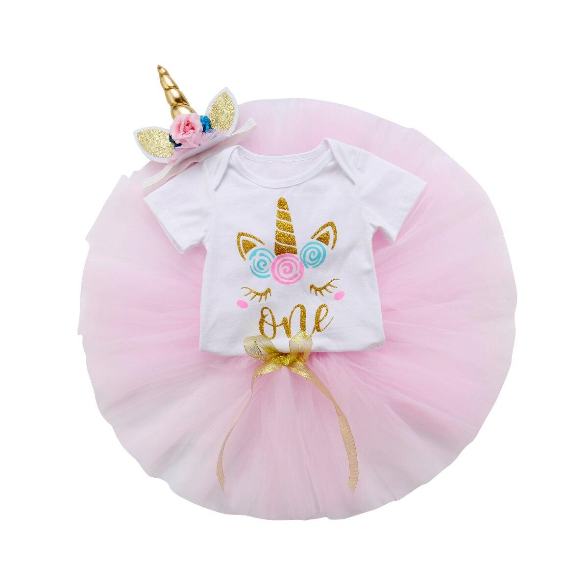 Toddler Baby Girl 3pcs Unicorn Print Top + Mesh Skirt With Headband Bodysuit Set  One Birthday