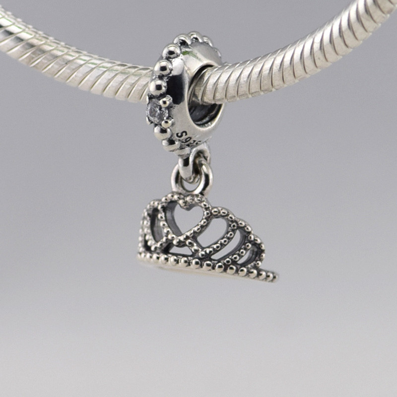 25bcfaff8 ... Fits Pandora Charms Bracelet New 925 Sterling Silver DIY Beads Hearts  Tiara Silver Charm with Clear ...