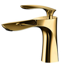 Basin Faucet Brass Bathroom Sink Mixer Tap Hot & Cold Faucet Single Handle Deck Mounted Golden/Chrome Lavatory Tap Water Crane contemporary simple delicate bathroom faucet chrome polished wall mounted single handle hot cold water eminent bathroom faucet