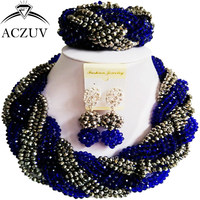 ACZUV African Beads Jewelry Sets for Women Royal Blue and Silver Crystal Nigerian Necklace and Earrings A12R020