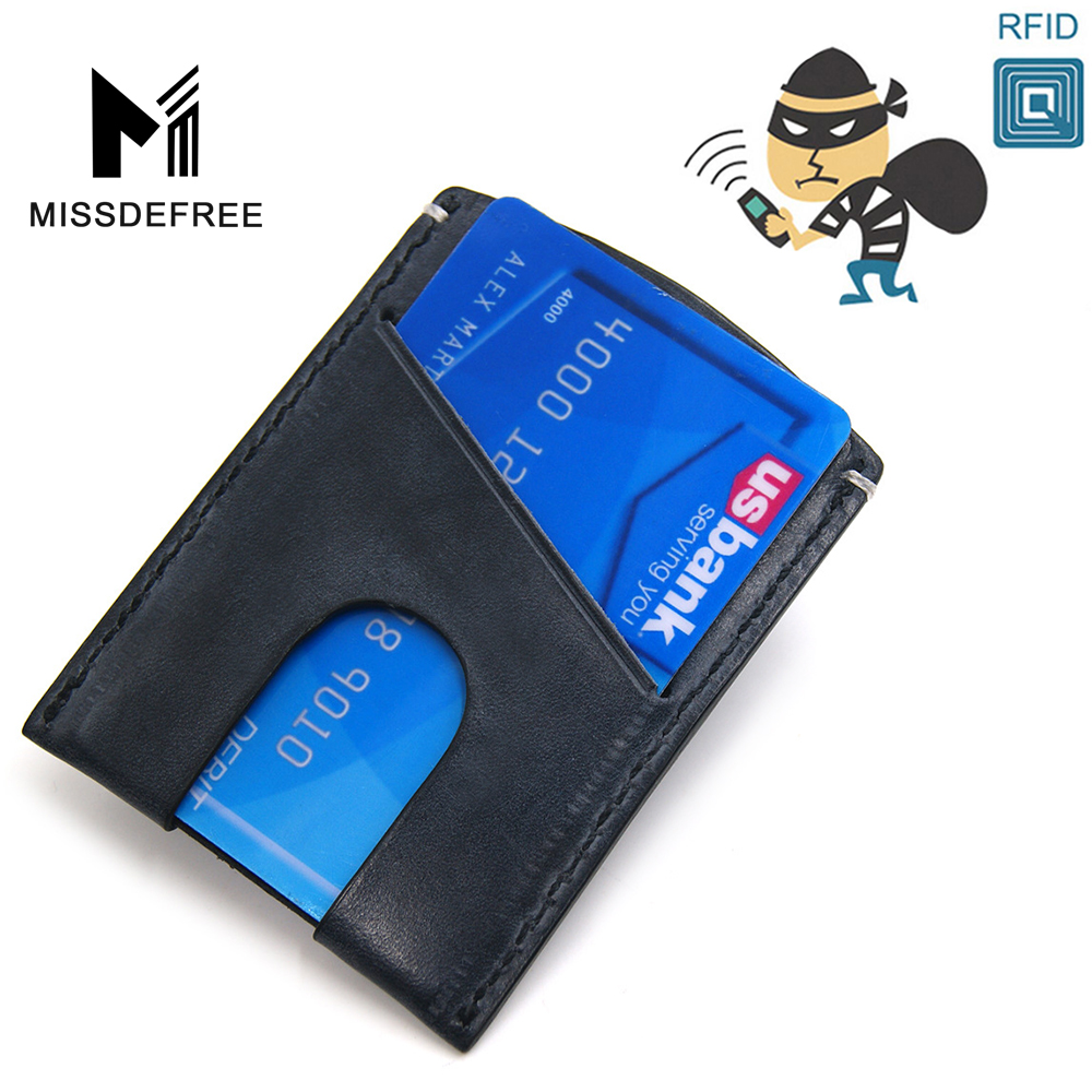 RFID Blocking Men Wallet Business Card Holder Metal Credit Card ...