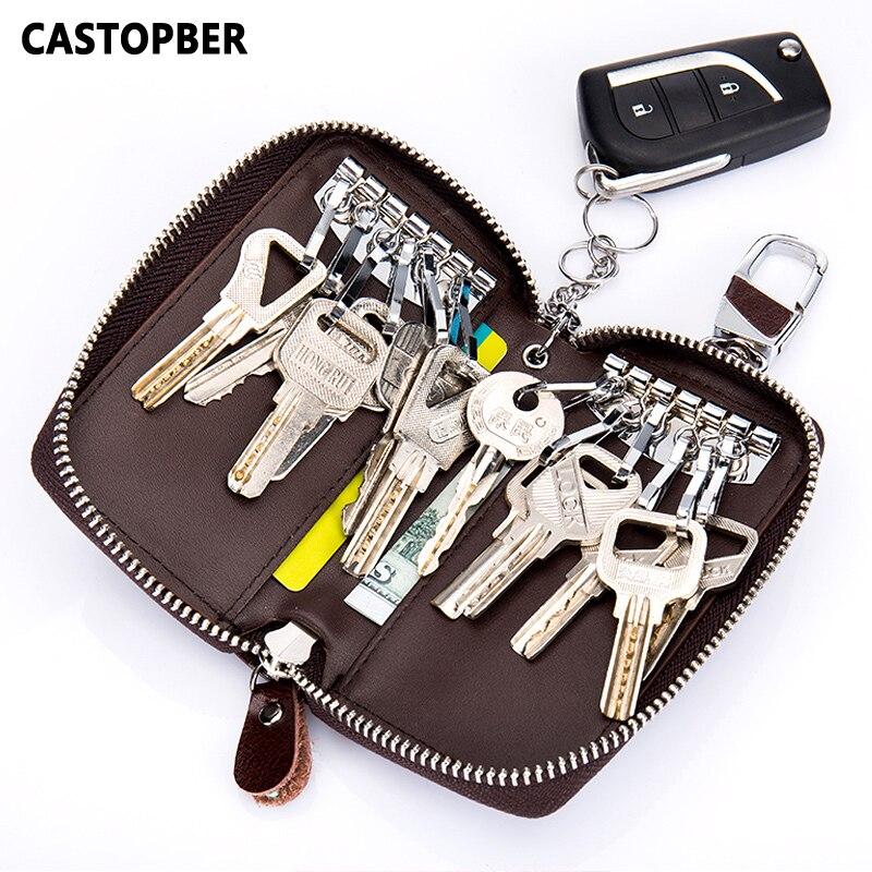 Hot Cowhide Leather Large Capacity Male Key Wallet Organizer Case Women Fashion Housekeeper Keys Chain For Men Zipper Purse Male