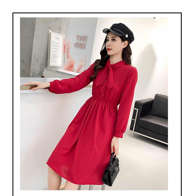 fashion bow collar women dresses party night club dress 2019 new spring long sleeve solid chiffon dress women clothing B101 9