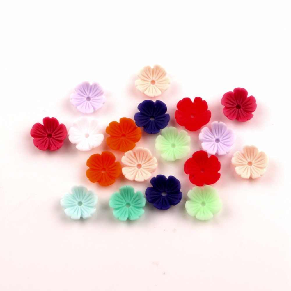 100Pcs Mixed 10mm Resin Flower Decoration Crafts Flatback Cabochon Beads Embellishments For Scrapbooking DIY Accessories