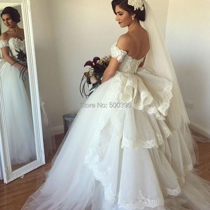 Retro Off Shoulder Ball Gown Wedding Dress 2016 New Arrival Lace ...